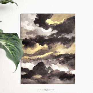 Aquarelle Paysage Jaune et Noir / Watercolor Yellow and Black Clouds